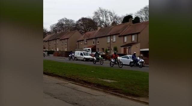 Dirt bikes on the streets of Edinburgh. Several bikers were caught on camera riding down Drumbrae Drive, Clermiston