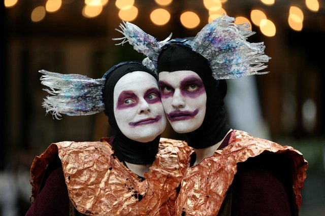 Liz Young and Bryce Lamont from the community theatre group Monkfish appearing at a previous Merchant City Festival. Picture: Robert Perry