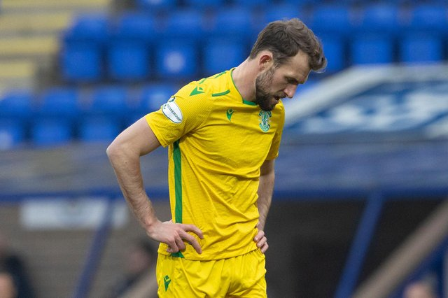Christian Doidge looks dejected after Hibs pass up another chance in front of goal