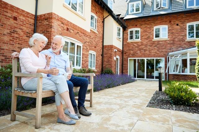 Stock image of elderly flat residents