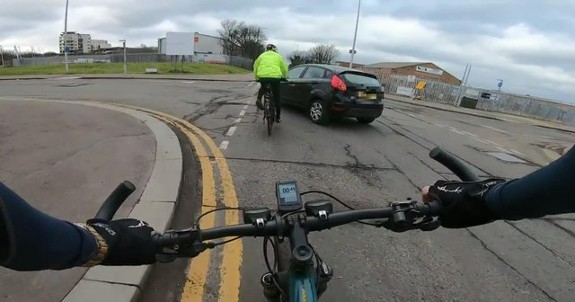 Cyclist's near-miss with car on West Harbour Road, Edinburgh picture: supplied