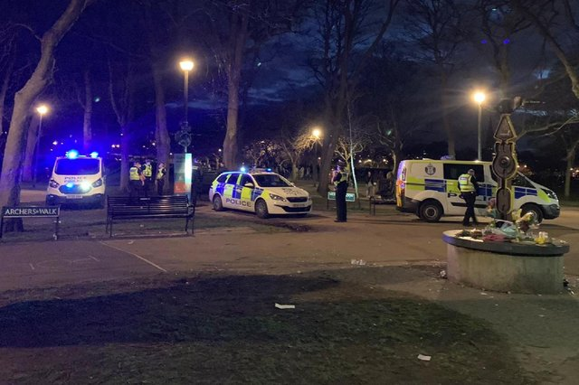 Police at the Meadows at the weekend after more reports of youth disorder.