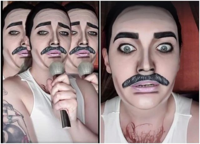 Lyndsay McCallum in her Freddie Mercury make-up.