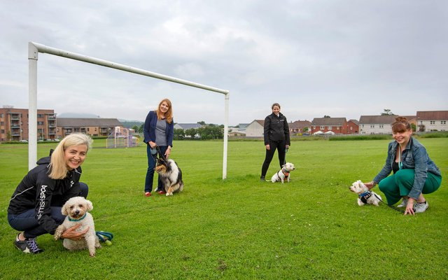 Scottish SPCA chief executive Kirsteen Campbell, with Martha. Edinburgh Eastern MSP Ash Denholm with Lexie; Gilly Mendez-Ferreira with Chester and Jackie Massie from the Rock Trust with Bruce.