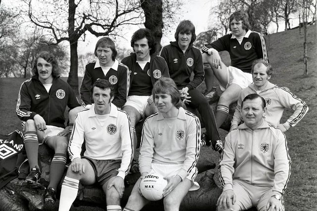 Scotland players (back L/R) Des Bremner, John Brownlie, Willie Miller, Kenny Dalglish, John Blackley and (front L/R) Danny McGrain, Alan Rough, manager Willie Ormond and coach Hugh Allan, pictured a gathering long after the 1974 World Cup disappointment. Photo by SNS Group