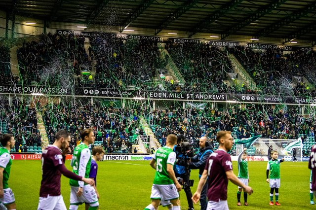 Easter Road was packed for the last league metting between Hibs and Hearts on March 3 last year. (Photo by Ross Parker / SNS Group)