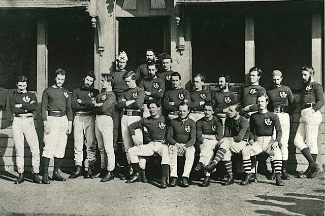 The Scotland team from 1871 which beat England in the first ever rugby international.