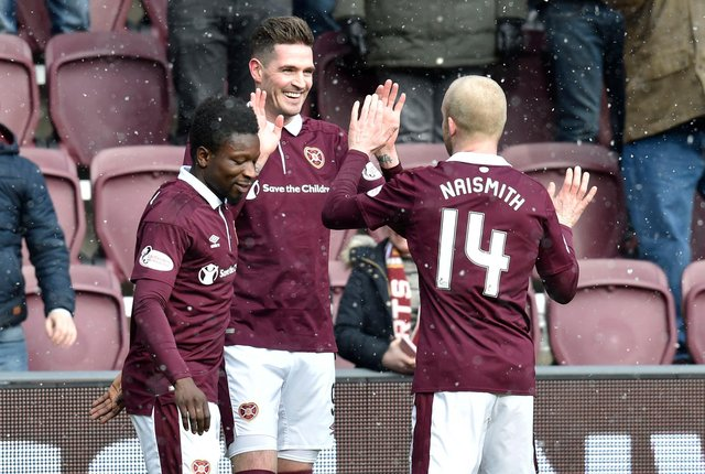 Kyle Lafferty and Steven Naismith each finished top goalscorer for Hearts in consecutive seasons.