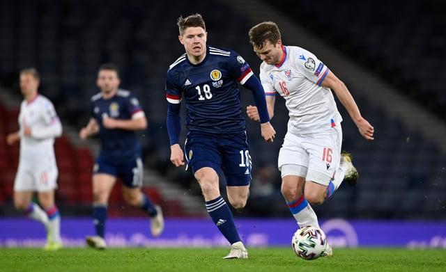 Hibs striker Kevin Nisbet made his Scotland debut.