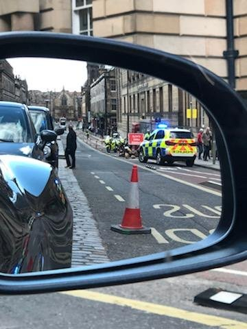 Police at the scene on George IV Bridge in Edinburgh where the incident happened picture: supplied