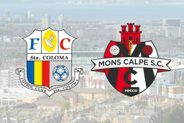 The badges of FC Santa Coloma, and Mons Calpe SC