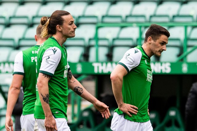 Dejection for Hibs at the final whistle