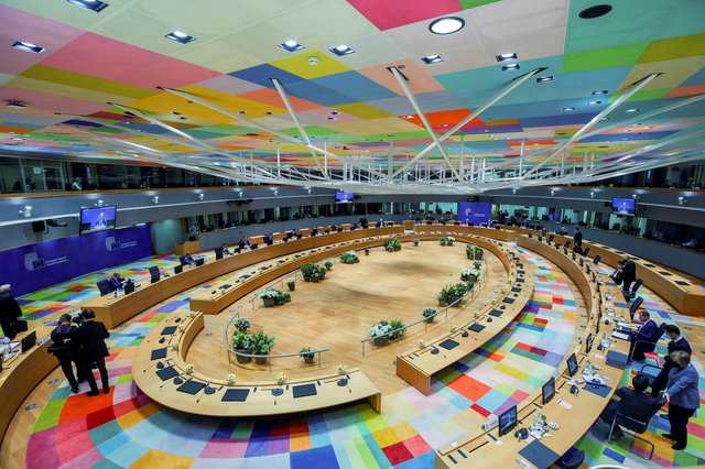 European Union leaders attend an EU summit at the European Council building in Brussels last week (Picture: Olivier Matthys/pool/AFP via Getty Images)