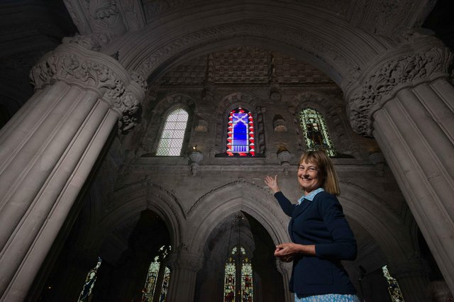 The Countess of Rosslyn with the new stained glass window (picture: Rob McDougall)