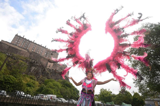 Carnival performer Monique Hendry was among those present to launch the long-awaitedreturn of the annual event in front of Edinburgh Castle on Castle Terrace in the heart of the city on Wednesday.
