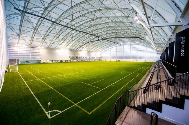 The indoor pitch at the Oriam complex which houses Hearts' training base.