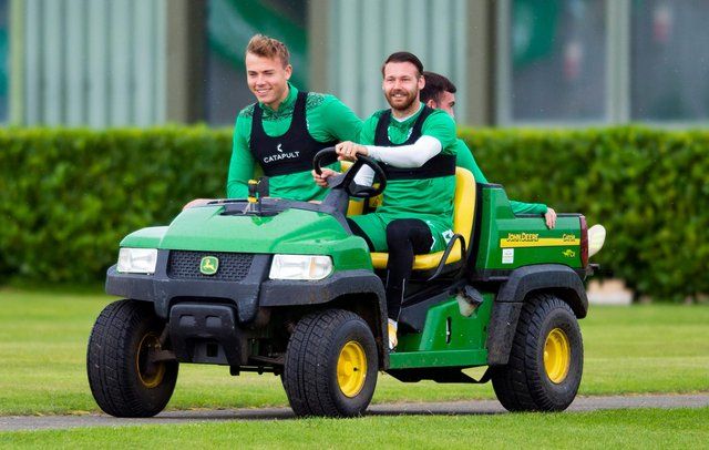 Ryan Porteous and Martin Boyle at Hibs training earlier this season. Picture: SNS