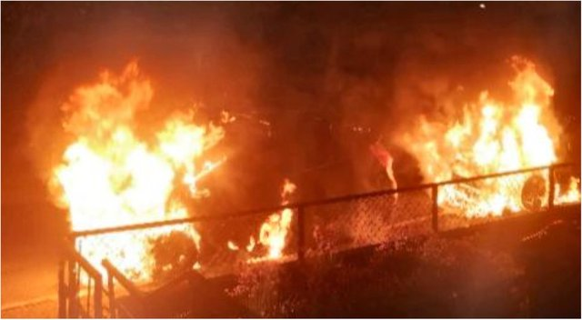 The scene on Ferry Road earlier this week after two cars were set on fire.