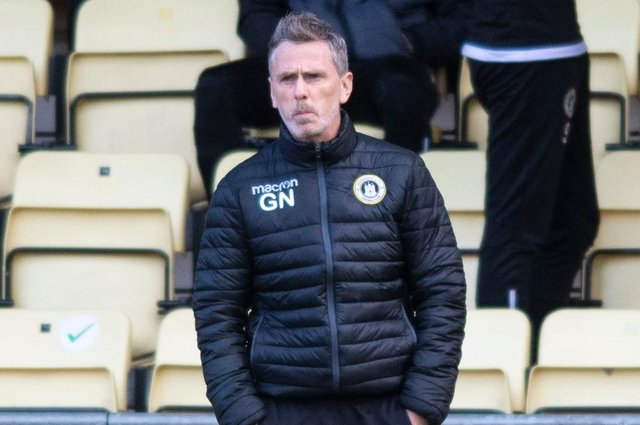 Edinburgh City manager Gary Naysmith watches on as his team lost out in the play-offs to Dumbarton.