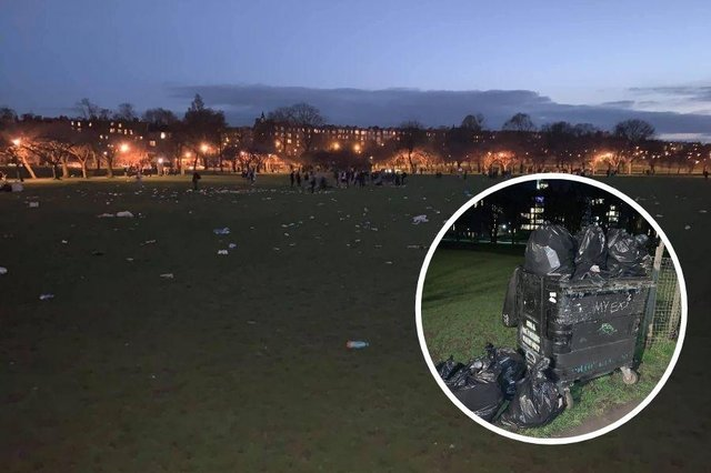 Murray MacDonald spent hours litter picking after hundreds of people illegally gathered on the Meadows last night.
